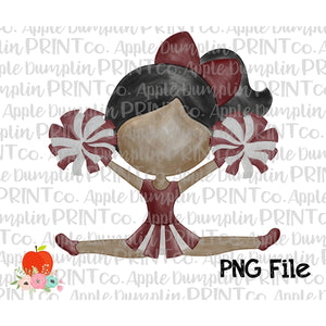 Dark Skin Cheerleader Maroon and Gray Watercolor Printable Design PNG - Embroidery Boutique