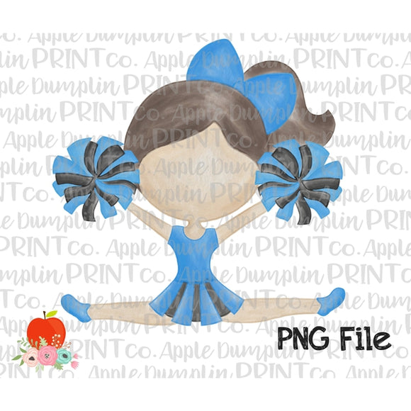 Brunette Cheerleader Blue and Black Watercolor Printable Design PNG - embroidery-boutique