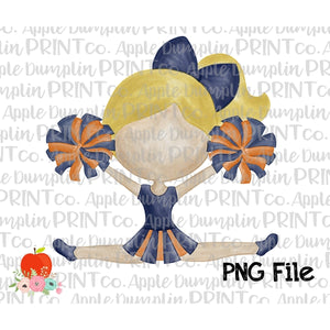 Blonde Cheerleader Navy and Orange Watercolor Printable Design PNG - embroidery-boutique