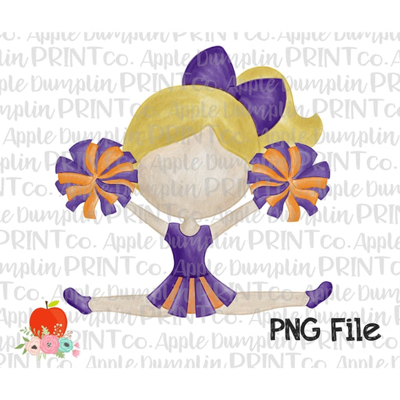 Blonde Cheerleader Purple and Orange Watercolor Printable Design PNG - embroidery-boutique