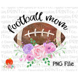 Football Mom with Flowers Printable Design PNG
