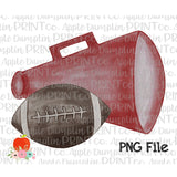 Football with Crimson Megaphone Watercolor Printable Design PNG - Embroidery Boutique