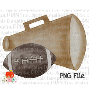 Football with Gold Megaphone Watercolor Printable Design PNG - embroidery-boutique