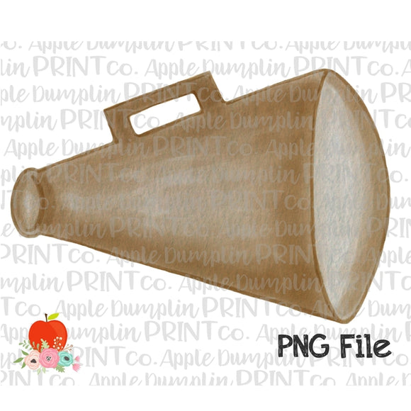Gold Megaphone Watercolor Printable Design PNG - Embroidery Boutique