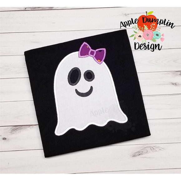 Ghost with Bow Applique Design - embroidery-boutique