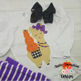 Llama with Pumpkins, Zigzag Stitch, Applique Design