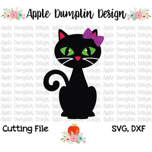 Black Cat with Bow SVG - embroidery-boutique