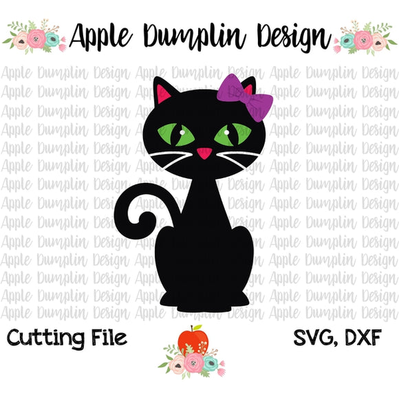 Black Cat with Bow SVG, SVG