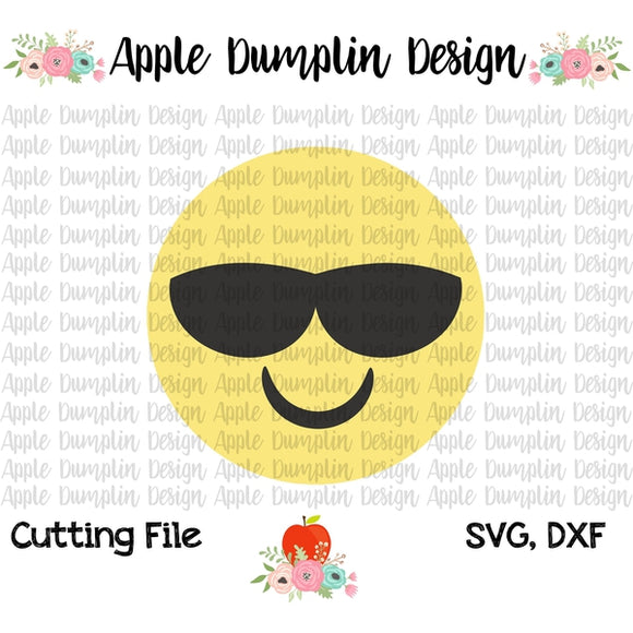 Emoji with Shades SVG - embroidery-boutique