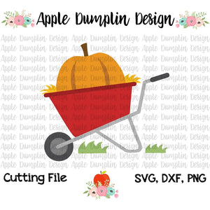 Wheelbarrow with Pumpkin SVG - embroidery-boutique