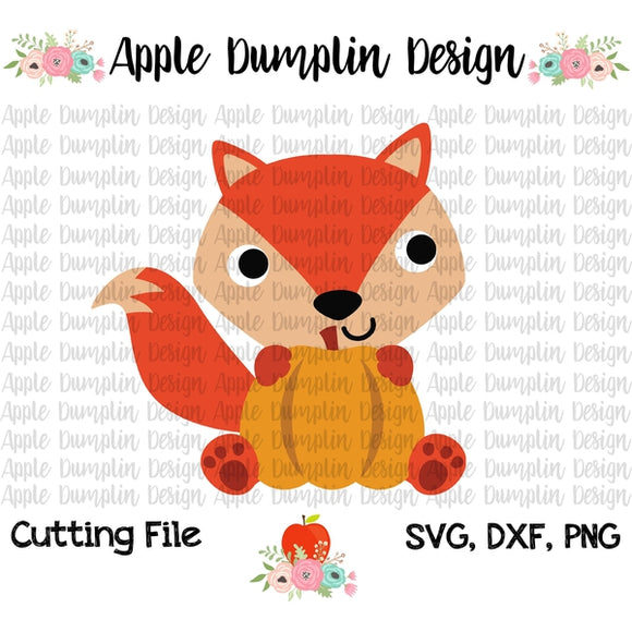 Fox with Pumpkin SVG - Embroidery Boutique