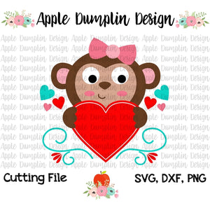 Valentine Monkey with Heart SVG - embroidery-boutique