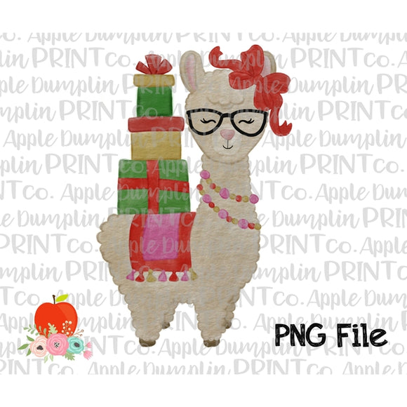 Christmas Llama with Glasses Watercolor Printable Design PNG