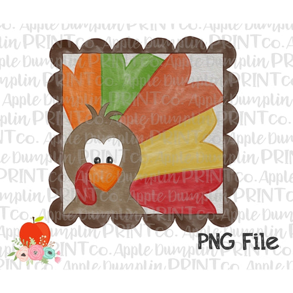 Boy Turkey with Scalloped Frame Watercolor Printable Design PNG - embroidery-boutique