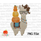 Fall Llama with Glasses Watercolor Printable Design PNG - embroidery-boutique