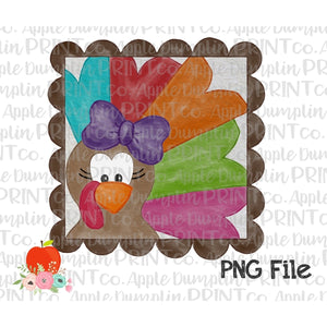 Girl Turkey with Scalloped Frame Watercolor Printable Design PNG - Embroidery Boutique