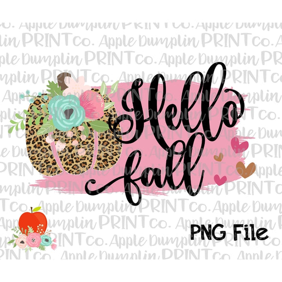 Hello Fall with Leopard Pumpkin Printable Design PNG - embroidery-boutique