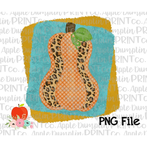 Leopard Pumpkin with Teal Frame Printable Design PNG - embroidery-boutique