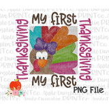 Girl My First Thanksgiving Turkey Watercolor Printable Design PNG - embroidery-boutique