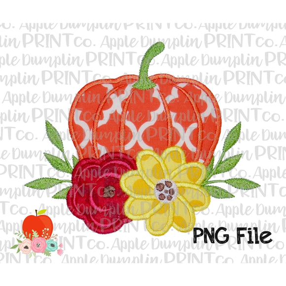 Pumpkin with Flowers Applique Style Printable Design PNG
