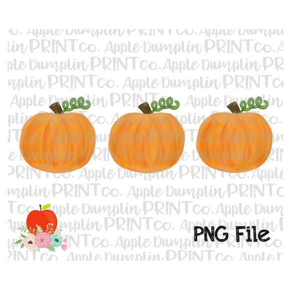 Pumpkin Trio Watercolor Printable Design PNG