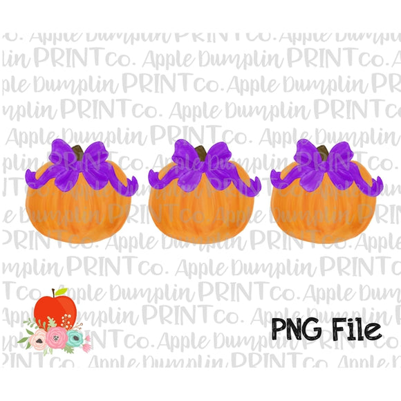 Pumpkin with Bow Trio Watercolor Printable Design PNG