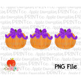 Pumpkin with Bow Trio Watercolor Printable Design PNG - embroidery-boutique