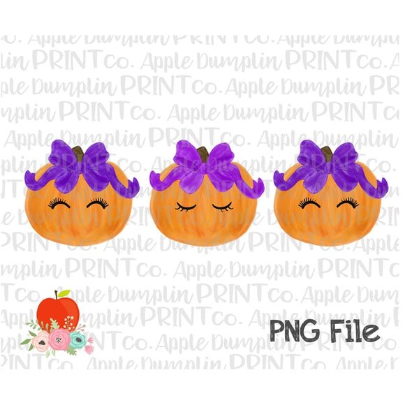 Pumpkin with Eyelashes and Bow Trio Watercolor Printable Design PNG