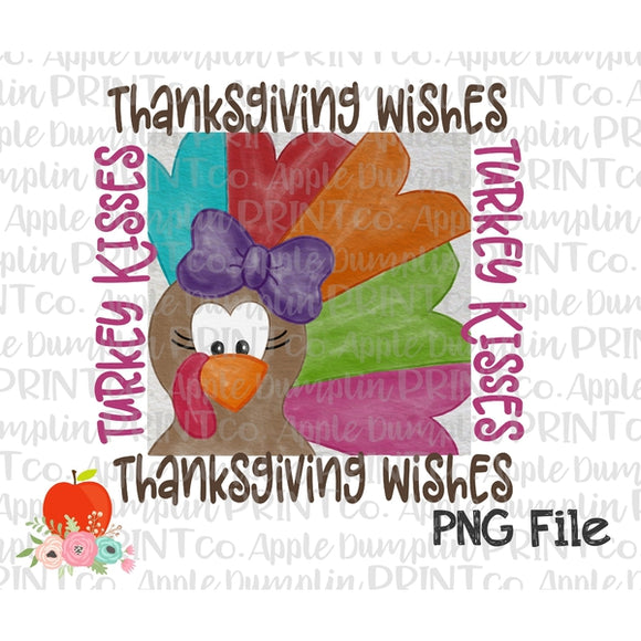 Thanksgiving Wishes Turkey Kisses Watercolor Printable Design PNG