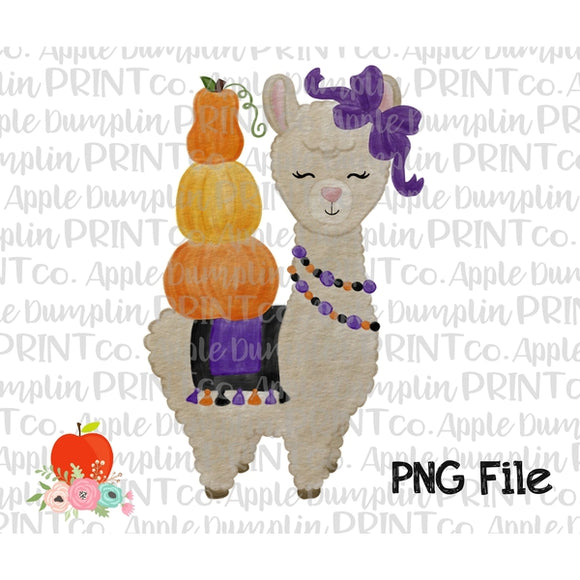 Halloween Llama Watercolor Printable Design PNG - Embroidery Boutique