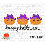 Happy Halloween Pumpkin with Bow Trio Watercolor Printable Design PNG - Embroidery Boutique