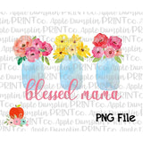 Blessed Mama Mason Jars Watercolor Printable Design PNG - embroidery-boutique