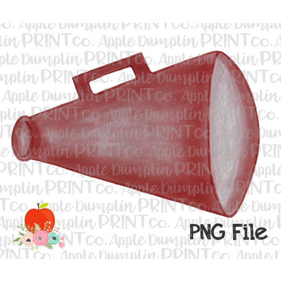 Crimson Megaphone  Watercolor Printable Design PNG - embroidery-boutique