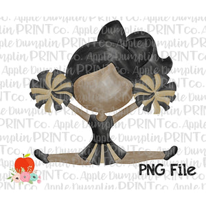 Dark Skin Cheerleader Black and Gold Watercolor Printable Design PNG - Embroidery Boutique