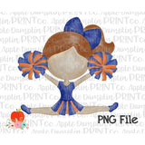 Auburn Hair Cheerleader Blue and Orange Watercolor Printable Design PNG