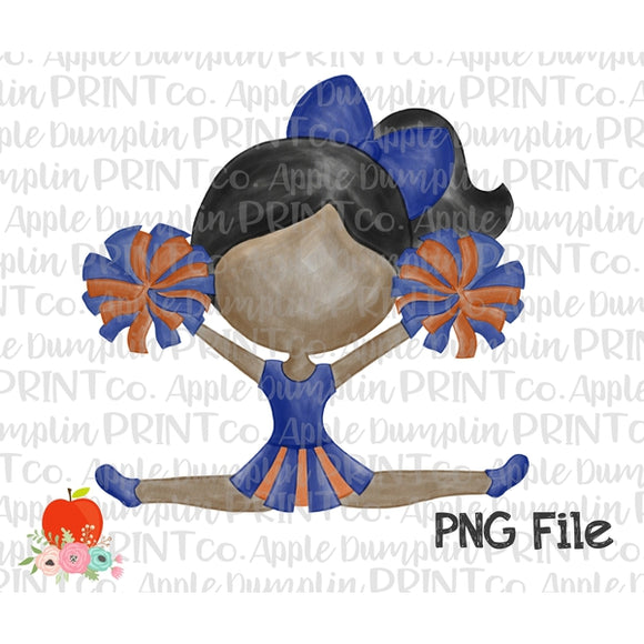 Dark Skin Cheerleader Blue and Orange Watercolor Printable Design PNG - embroidery-boutique