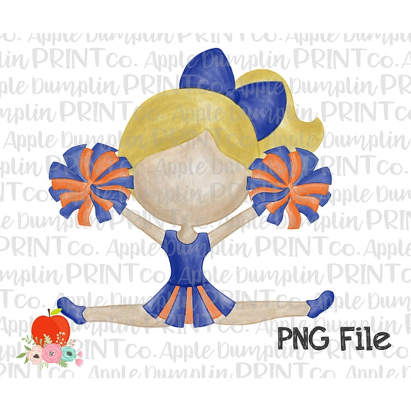 Blonde Cheerleader Blue and Orange Watercolor Printable Design PNG - embroidery-boutique