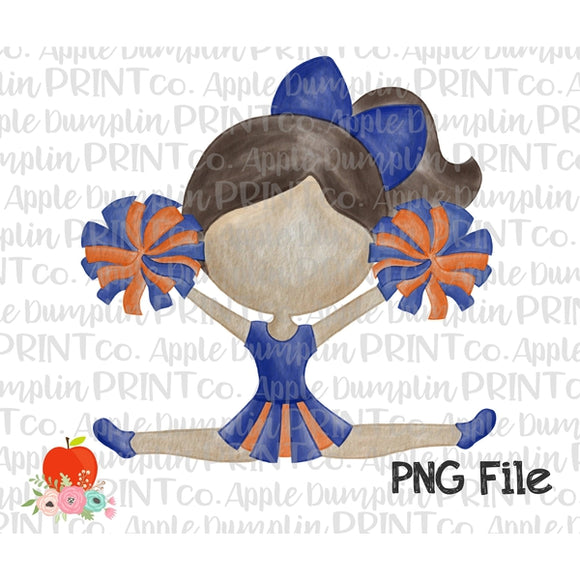 Brunette Cheerleader Blue and Orange Watercolor Printable Design PNG - embroidery-boutique