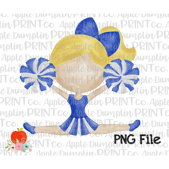 Blonde Cheerleader Blue and White Watercolor Printable Design PNG - embroidery-boutique