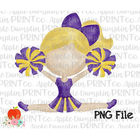 Blonde Cheerleader Purple and Gold Watercolor Printable Design PNG