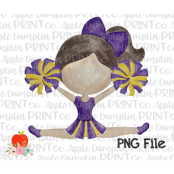 Brunette Cheerleader Purple and Gold Watercolor Printable Design PNG - embroidery-boutique