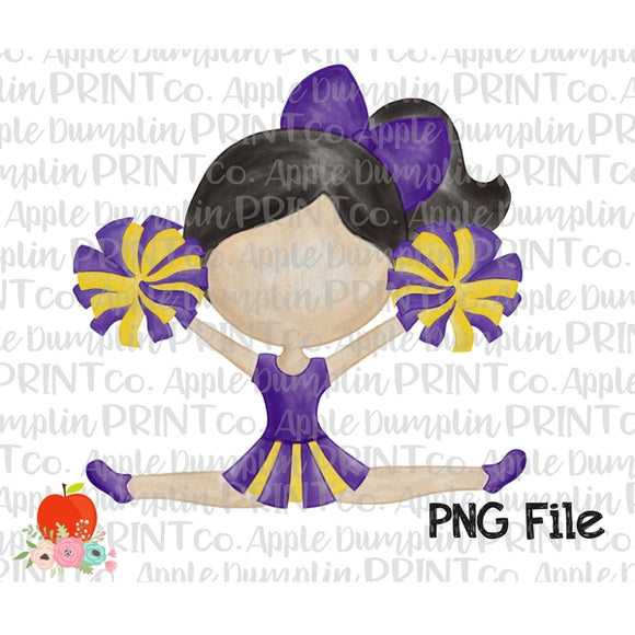 Black Hair Cheerleader Purple and Gold Watercolor Printable Design PNG - embroidery-boutique