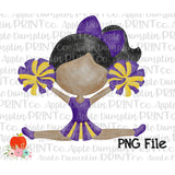 Dark Skin Cheerleader Purple and Gold Watercolor Printable Design PNG - Embroidery Boutique