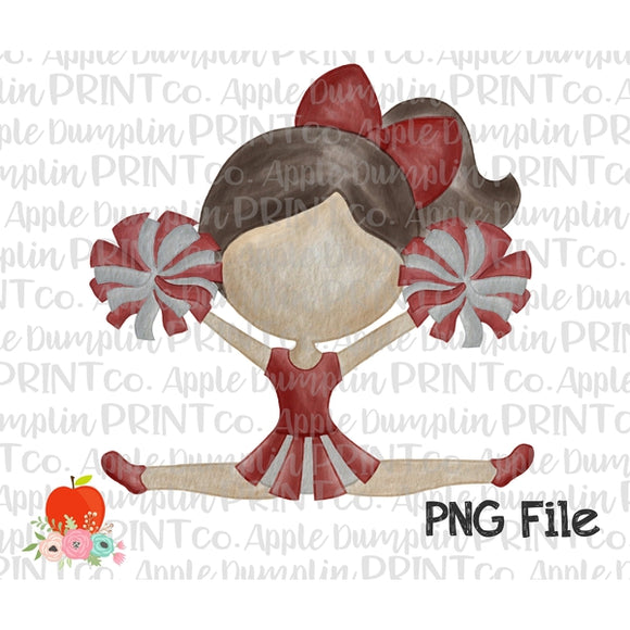 Brunette Cheerleader Cardinal Red Watercolor Printable Design PNG