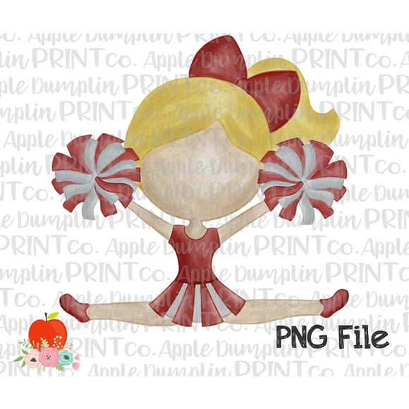 Blonde Cheerleader Cardinal Red Watercolor Printable Design PNG - embroidery-boutique