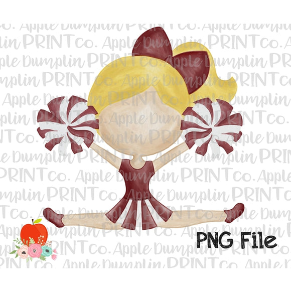 Blonde Cheerleader Maroon and Gray Watercolor Printable Design PNG - embroidery-boutique