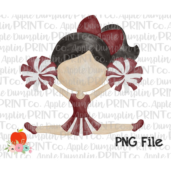 Black Hair Cheerleader Maroon and Gray Watercolor Printable Design PNG - embroidery-boutique
