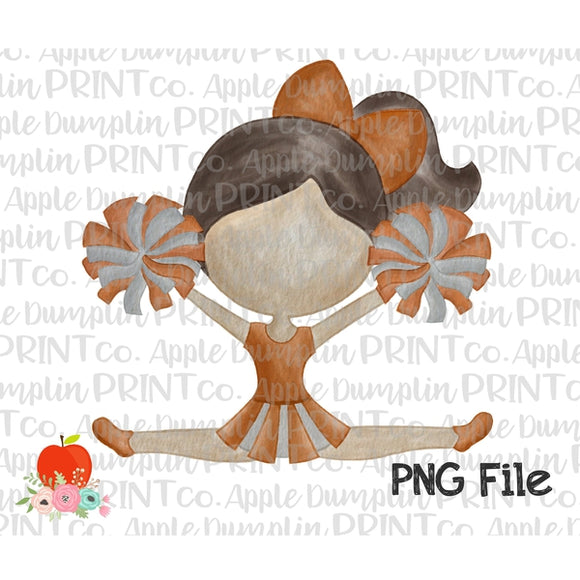 Brunette Cheerleader Dark Orange and Gray Watercolor Printable Design PNG - embroidery-boutique