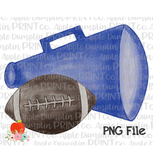 Football with Blue Megaphone Watercolor Printable Design PNG - Embroidery Boutique