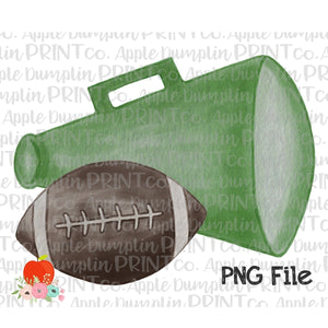 Football with Green Megaphone Watercolor Printable Design PNG - Embroidery Boutique